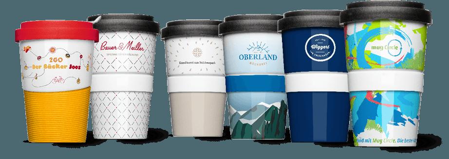Logo und Design von Coffee2Go Bechern von Mahlwerck Porzellan für verschiedene Bäckereien