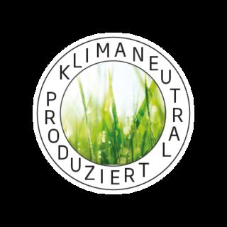 Logo Klimaneutral Kampagne Tautropfen im Gras