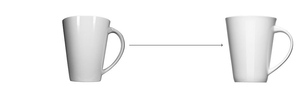 Produktabbildung alt gegenüber neu Porzellan Tasse weiß