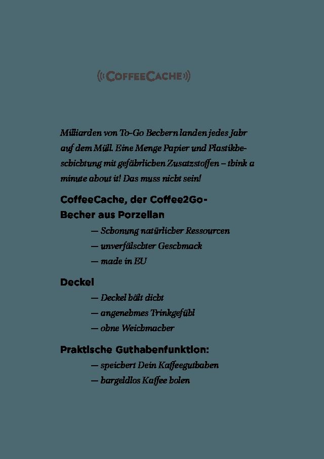 CoffeeCache, der Coffee2Go-Becher aus Porzellan mit praktischer Guthabenfunktion