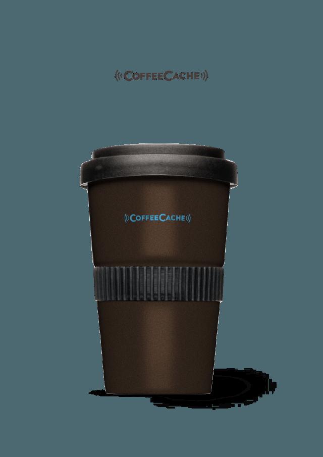 CoffeeCache 2go-Becher braun Entwicklung digitale Marke