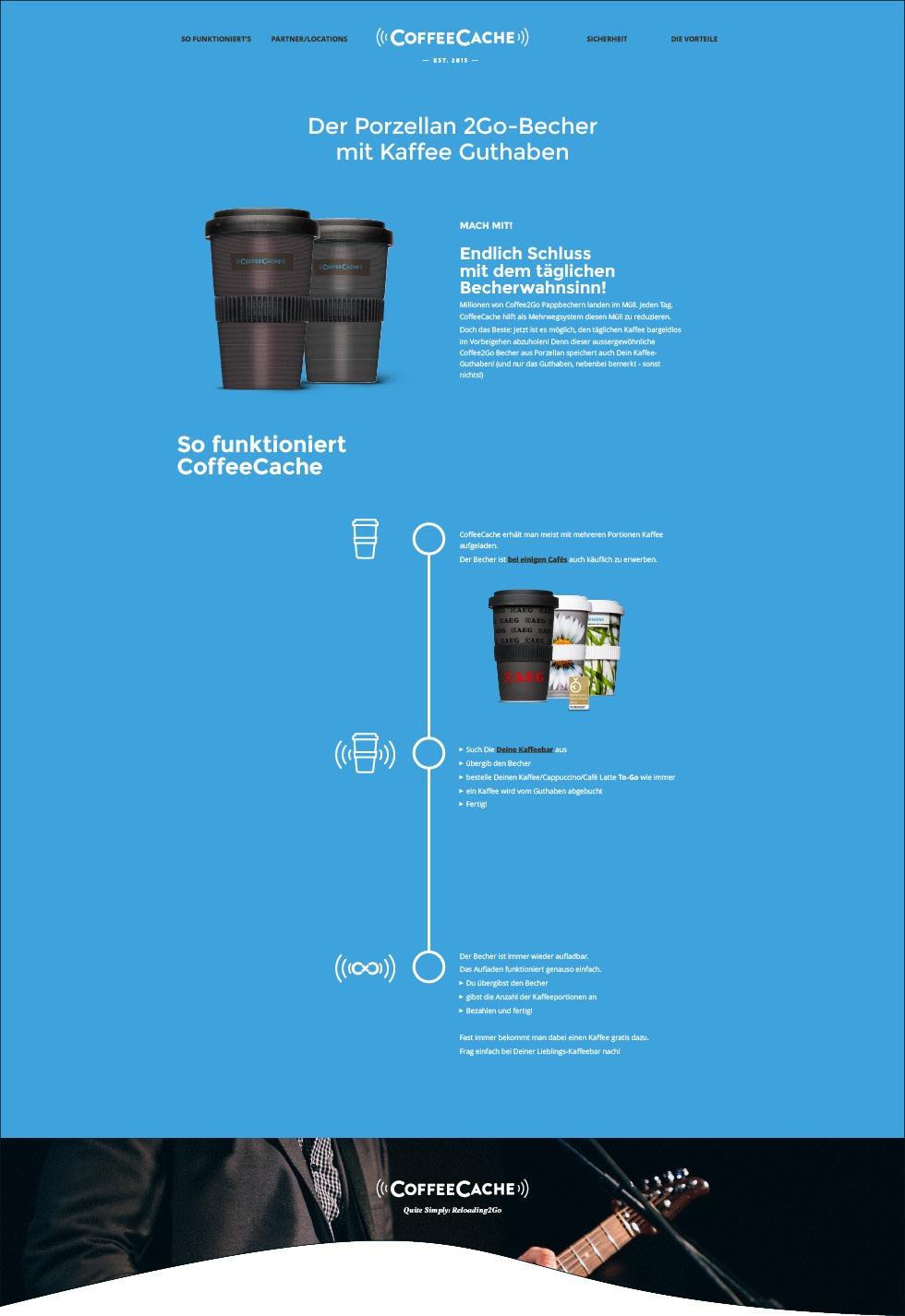 CoffeeCache der Porzellan 2Go-Becher mit Kaffee Guthaben