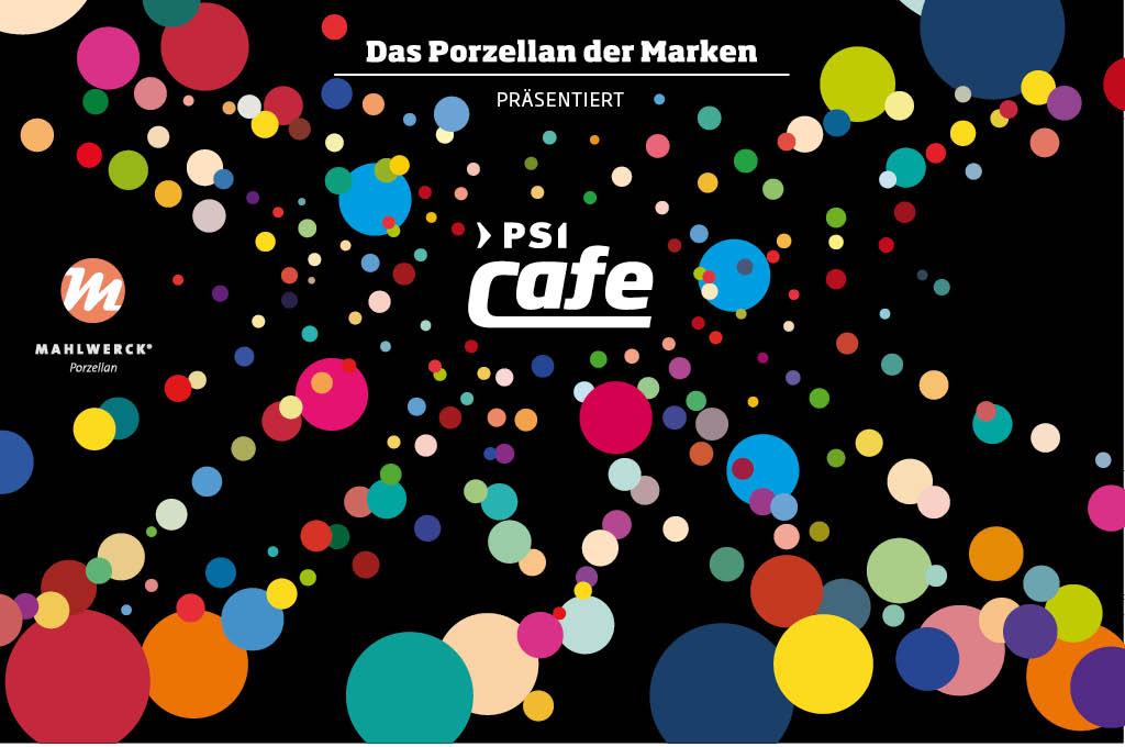 Visuelles Marken-Design mit Punkten als Markenelement von Mahlwerck-Porzellan für PSI-Messecafes
