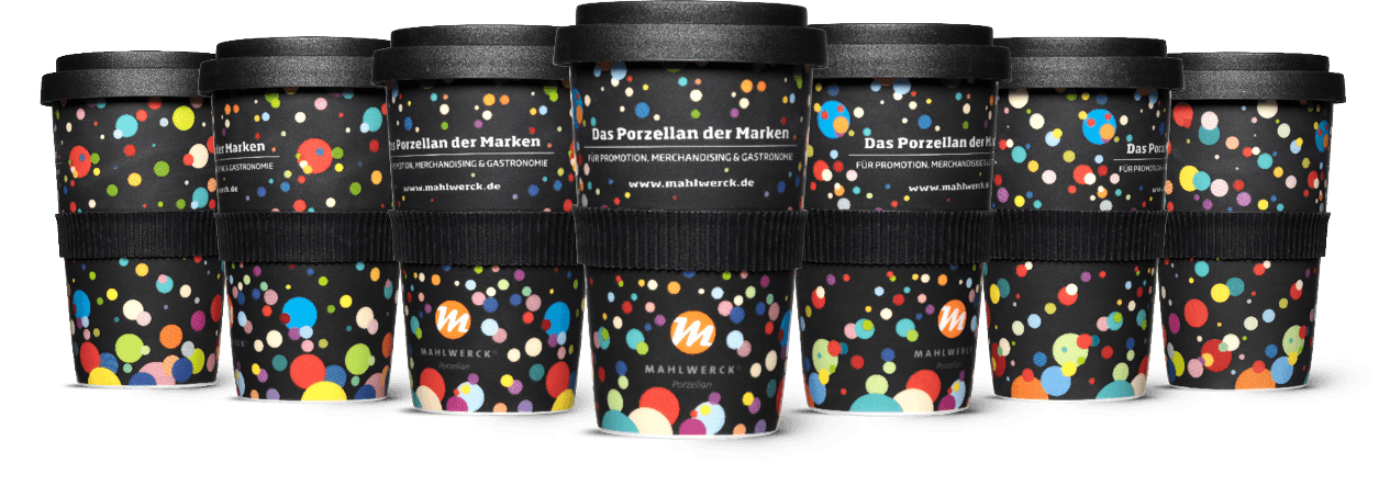 PSI Sammelbecher von Mahlwerck-Porzellan schwarz mit Punktedesign