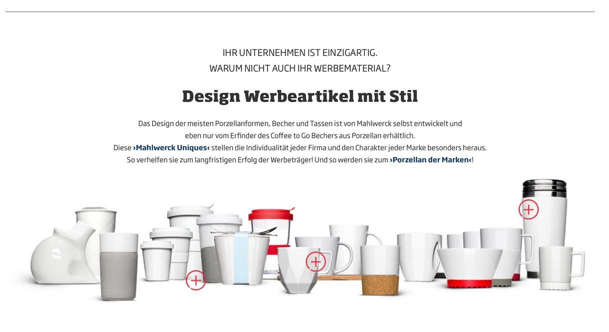 Online Produktabbildung Design Werbeartikel Porzellan