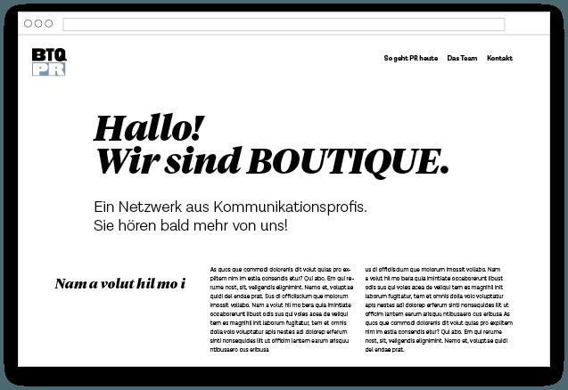 Entwicklung Website Layout für Boutique PR