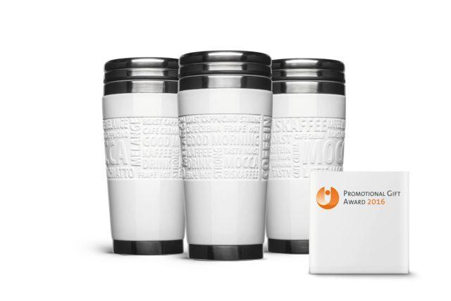 Coffee to go Becher mit Auszeichnung Promotion Gift Award 2016