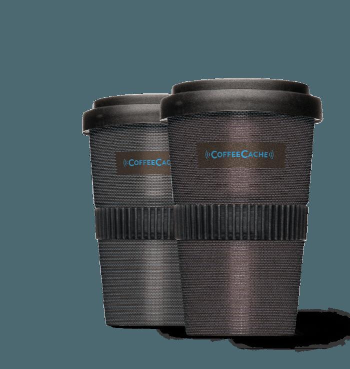 CoffeeCache 2go-Becher schwarz Entwicklung digitale Marke