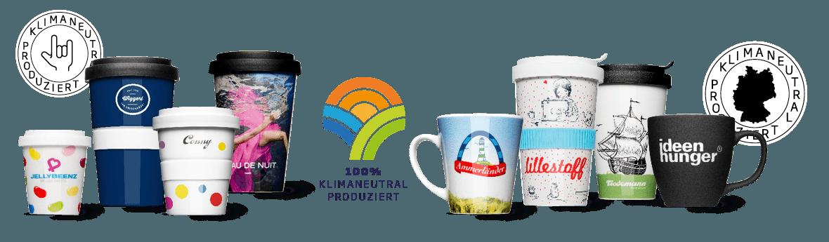 klimaneutral hergestellte Porzellantassen und Becher