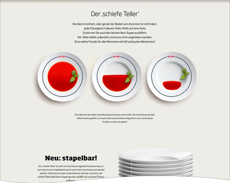 Product Special für Excentra, der Schiefe Teller