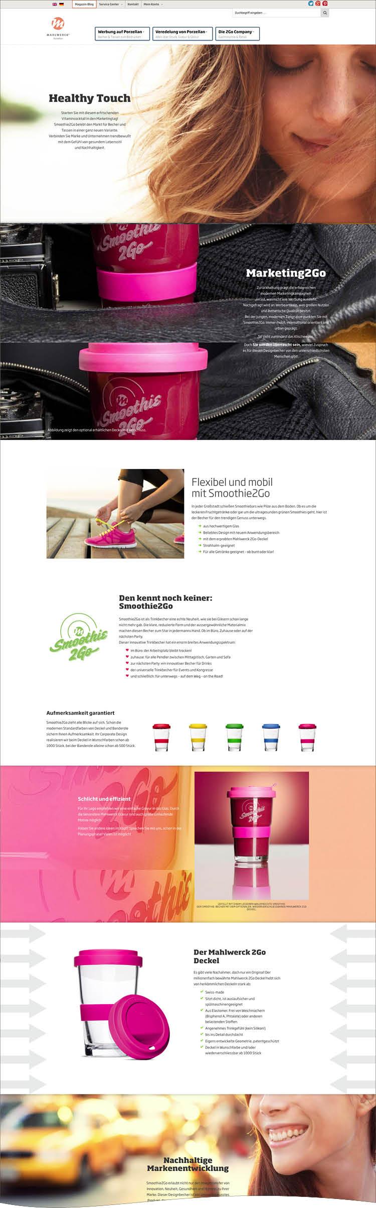 Das Product Special für Smoothie to Go - Mahlwerck Website