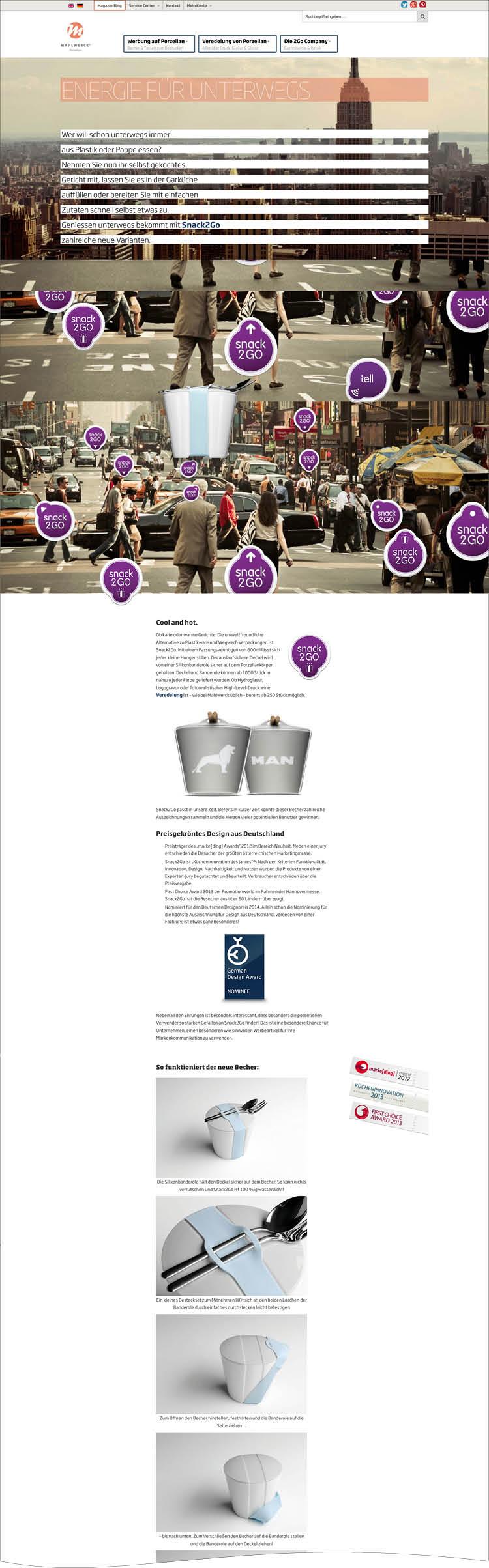 Das Product Special für Snack to Go – Mahlwerck Website