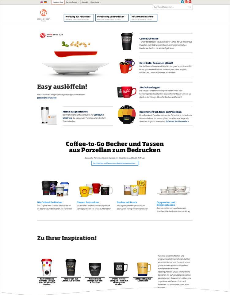 Website für Mahlwerck Porzellan konzipiert, designed & umgesetzt von Ingo Moeller